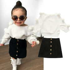 Toddler Kids Baby Girls Clothes Hairball Knit Tops Sweater Solid Skirt Outfits