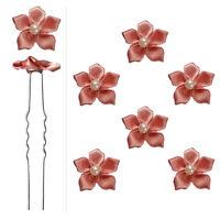6 épingles pics cheveux chignon mariage mariée petites fleurs satin vieux rose