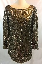 nwot FREE PEOPLE tarnished Gold Sequin Tunic Long Sleeves Dress  XS/S
