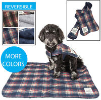 Touchdog 2-in-1 Matching Tartan Plaided Dog Coat Jacket and Designer Dog Bed Mat