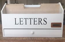 Briefbox 30x10x18 weiß beige Letters Brief Aufbewahrung Briefablage Holz Cottage
