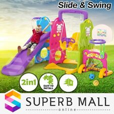 7in1 Kids Basketball Ring Hoop Toddlers Play Toy Swing Slide Activity Center Set