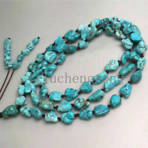 Natural Turquoise Necklace Chunky Irregular Beads Chain Lucky Wrist Meditation