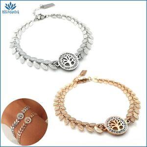 Bracciale da donna con albero della vita in acciaio inox zirconi braccialetto a