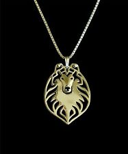 Collie Rough Profile Dog Pendant Necklace - Fashion Jewellery - Gold Plated