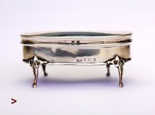 1911 Antique British Sterling Silver Kidney Jewelry Vanity Ring  Box / 65gr