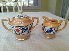Vintage JAPANESE LUSTERWARE Sugar Bowl & Creamer Set Peach Gold Porcelain EUC
