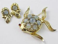 Vintage MAZER BROS Blue ART GLASS Rhinestone FISH Brooch & Clip On Earrings SET