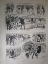 Sports on the Ice 1880 old prints