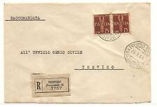Italy  To  Treviso  Franked With Pair Sassone 12   WW II   1944