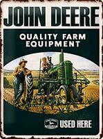 Señal metalica John Deere Quality Farm Equipment Used Here en relieve (na)