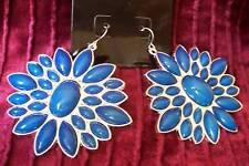 Huge Silver/Blue Flower Earrings