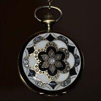 Orient Blanco Reloj de bolsillo cadena Vintage con colgante adorno Asia