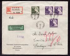 1178 SWEDEN TO CHILE REGISTERED COVER 1946 WRITER TEGNER STOCKHOLM - SANTIAGO