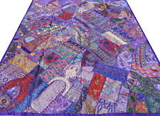 Dessus de lit indien violet Fait main Patchwork Couvre-lit ethnique Inde Décor
