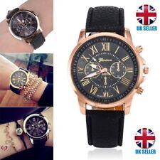Ladies Men Fashion Geneva Roman Numerals Leather Analog Quartz Women Wrist Watch