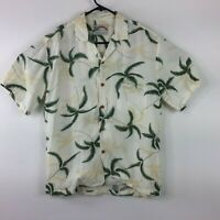 Paradise Found Honolulu Hawaiian Palm Tree Floral Button Up Casual Shirt Mens M