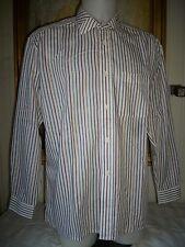 Chemise coton/polyester blanc rayé PIERRE CARDIN L/43/5 manche longue logo brodé