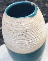 Original Glazed Teal Turquoise Ceramic Stoneware Art Pottery Ribbed Vase Vessel