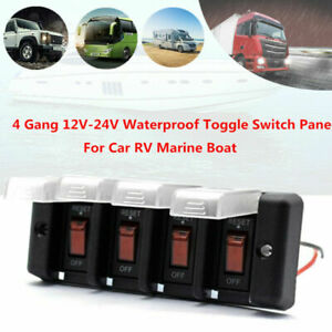 4 Gang 12-24V Car RV Marine Boat Waterproof Enclosed Rocker Switch Panel Red LED