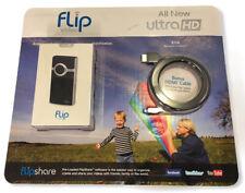 Flip Video ULTRA HD Black & Silver Video Camera 8 GB U32120B W/ HDMI CABLE - NEW