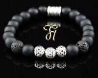 Onyx und Lava matt Armband Bracelet Perlenarmband Silber Beads 8mm