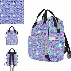 Aqua Lilac Sugar Skull Baby Changing Diaper Backpack Rucksack Bag Alternative