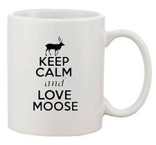 Keep Calm And Love Moose Deer Elk Antlers Lover Funny Ceramic White Coffee Mug