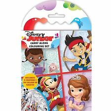 Disney Junior Mini Carry Along Colouring Set Crayons Picture Book Travel Movie