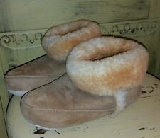 VINTAGE AUTH SHEARLING LAMB FUR SLIPPERS BOOTIES MOCCASINS LADIES 5 BROWN