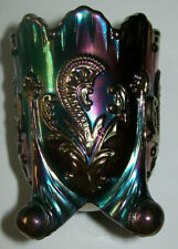 Iridescent Carnival Glass Joe St Clair Fan and Feather Toothpick Holder 2.5""