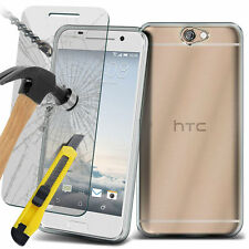 Ultra Thin Clear TPU Gel Skin Case Cover & Glass for HTC One A9