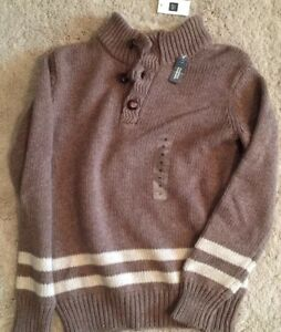 GAP KIDS New NWT M Mediium 8 Sweater Brown Bison Faux Shearling Pullover