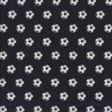 Small Black and White Soccer Balls on Black Boys Kids Girls Quilting Fabric FQ o