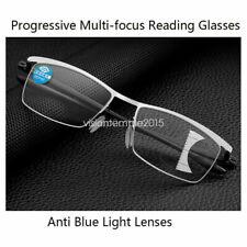 Fashion Men's Progressive Reading Glasses Metal Half-Rim Frame +1.0 to +3.5
