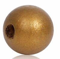 50 Stück Holzperlen Rund Goldfarben 16 mm Holz Perlen Schnullerketten Basteln
