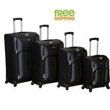 Lightweight Luggage Set 4 Piece Spinner Upright Carry On Case Quad Rolling Black