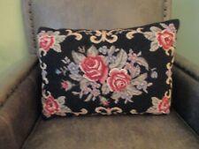 Vintage Handmade Needlepoint Pillow Floral Roses Black Wool 18 x 13 Rect. EUC