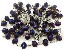 Deep Purple Crystal Beads Rosary Catholic Necklace Holy Soil Medal & Metal Cross