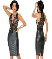 Sz 10 12 Black Wetlook Sleeveless Lace Cocktail Formal Sexy Slim Fit Midi Dress