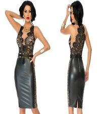Sz S 8 10 Black Wetlook Sleeveless Lace Cocktail Formal Slim Fit Midi Dress