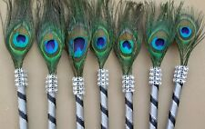 12 Peacock Feather Pen Party Favor for Weddin Gift ,Sweet16,Bridal S,Quinceañera