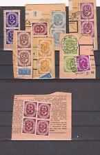 Bund 1951, Posthorn,Sammlung  senkrechte Paare,gestempelt auf Kartenausschnitten