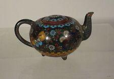 Antique Japanese Miniature Cloisonne Teapot Butterflies Missing Top
