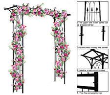 Garden Archway Arbor Outdoor Black Metal Pergola Climbing Plant Support Wedding