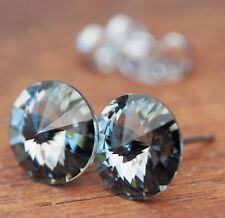 NEU Titan OHRSTECKER 10mm SWAROVSKI STEINE black diamond/schwarz-grau OHRRINGE