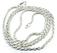 """ITALY 925 Sterling Silver Diamond Cut Twisted Rope Chain Necklace 24"""" 12g"""