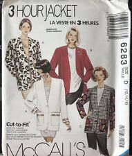 McCall's 3 Hour pattern 6283 Misses' lined or unlined Jacket sz 12, 14, 16 uncut