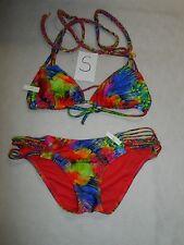 Luli Fama 'Mundo de Colores' Strappy Triangle Bikini Top & Bottom Multi-Color S