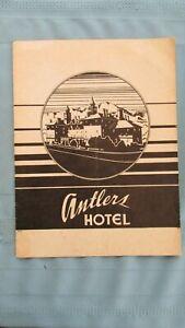 1943 Colorado Springs Colo. Antlers Hotel Hard Stock Dinner Menu-Trout To Steak